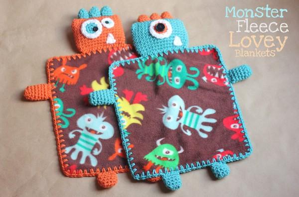 Free Crochet Monster Lovey Blanket Pattern