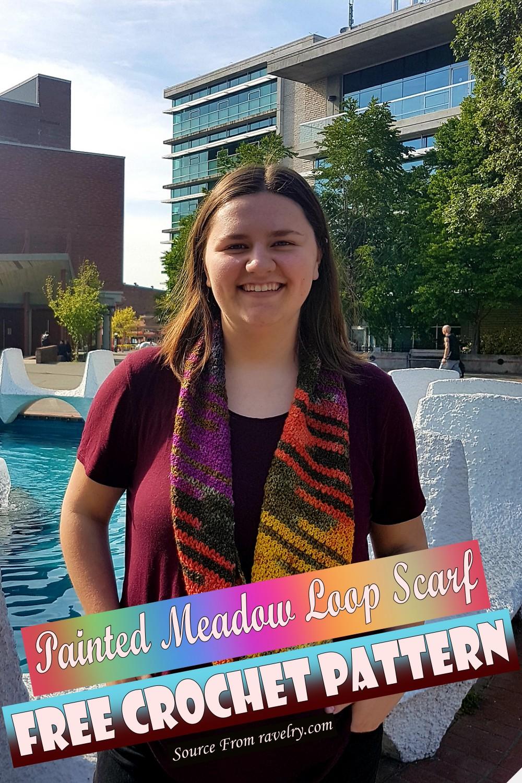 Free Crochet Painted Meadow Loop Scarf Pattern
