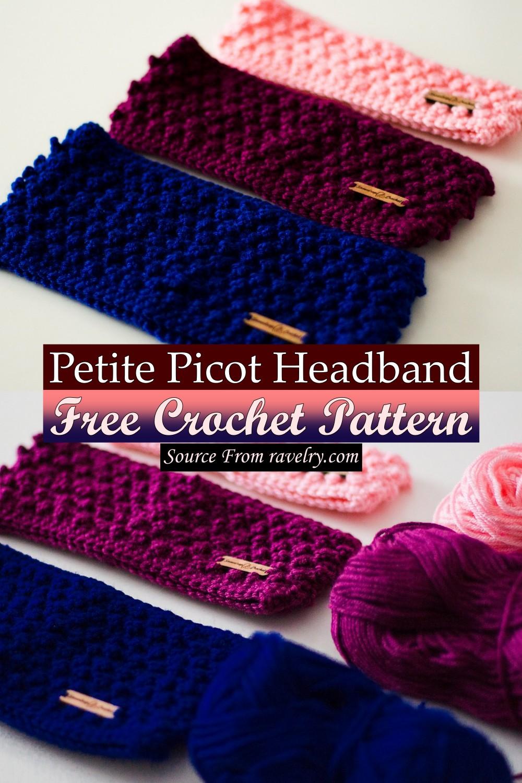 Free Crochet Petite Picot Headband Pattern
