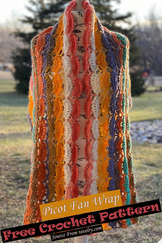 Free Crochet Picot Fan Wrap Pattern