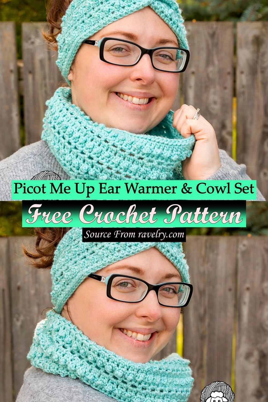 Free Crochet Picot Me Up Ear Warmer & Cowl Set Pattern