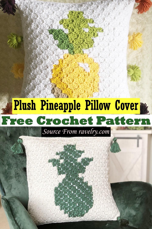 Free Crochet Plush Pineapple Pillow Cover Pattern