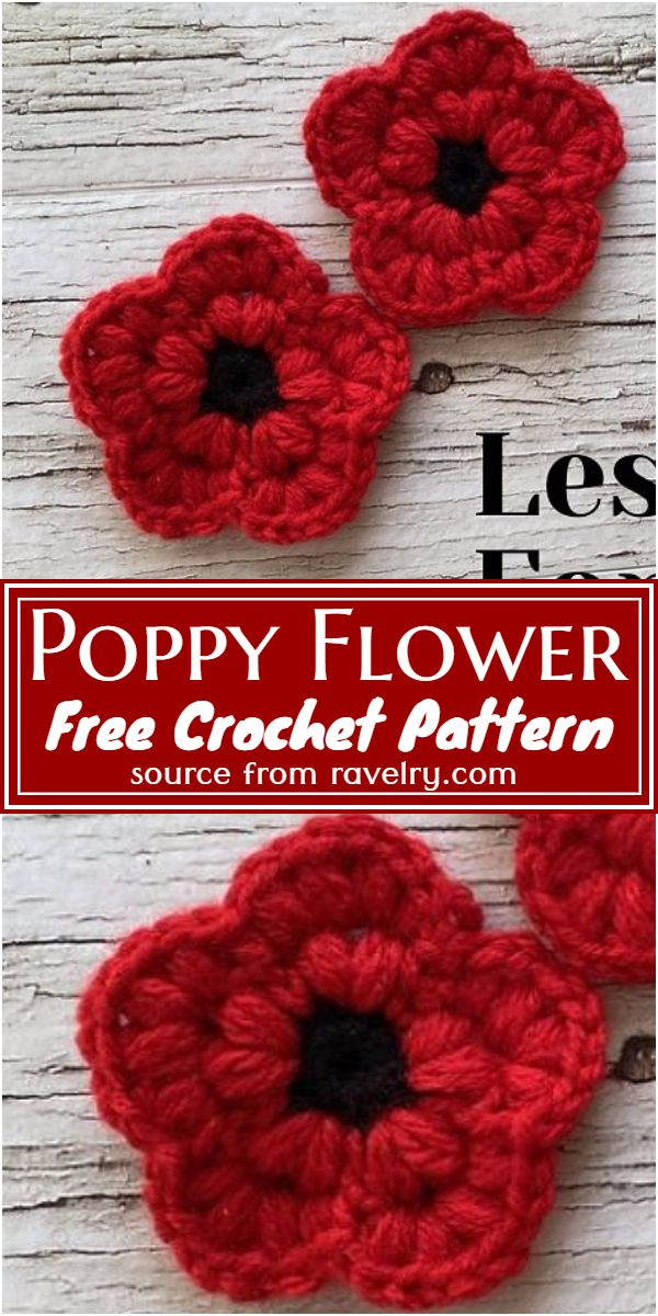 Free Crochet Poppy Flower Pattern