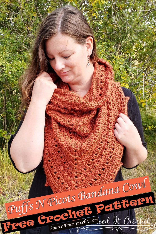 Free Crochet Puffs N Picots Bandana Cowl Pattern
