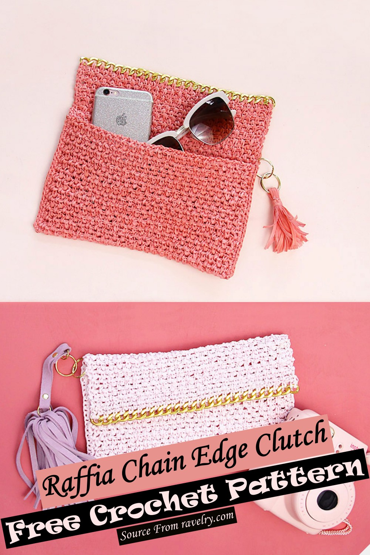 Free Crochet Raffia Chain Edge Clutch Pattern