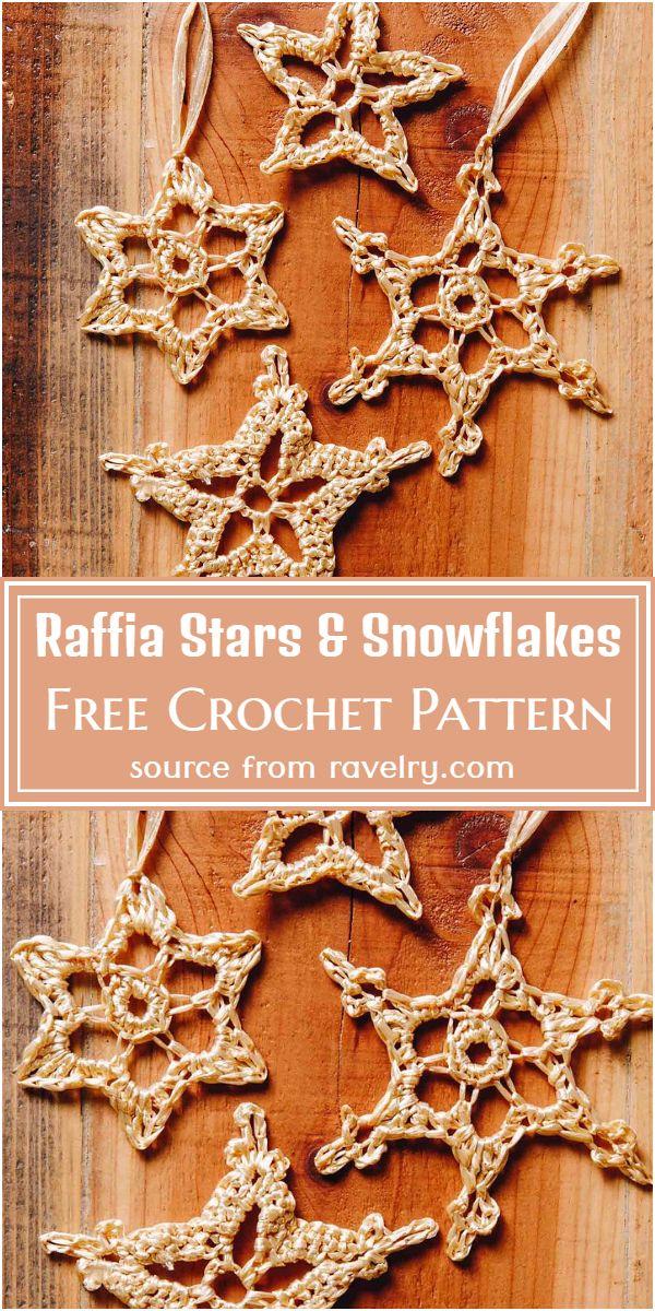 Free Crochet Raffia Stars & Snowflakes Pattern