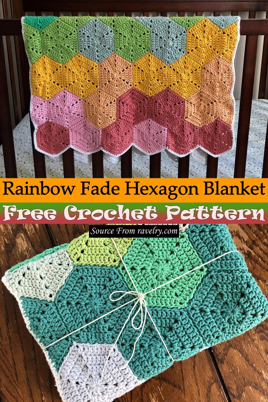Free Crochet Rainbow Fade Hexagon Blanket Pattern