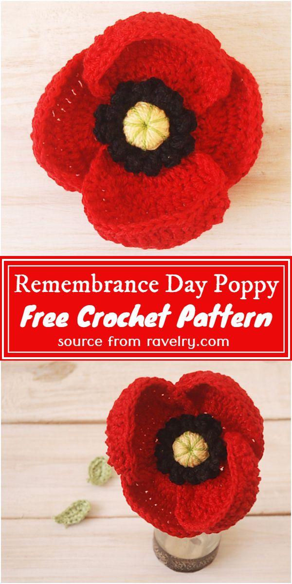 Free Crochet Remembrance Day Poppy Pattern