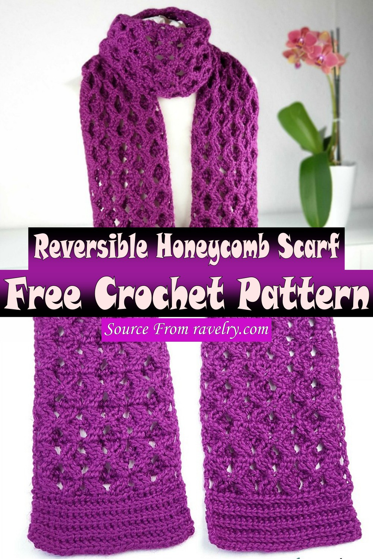 Free Crochet Reversible Honeycomb Scarf Pattern
