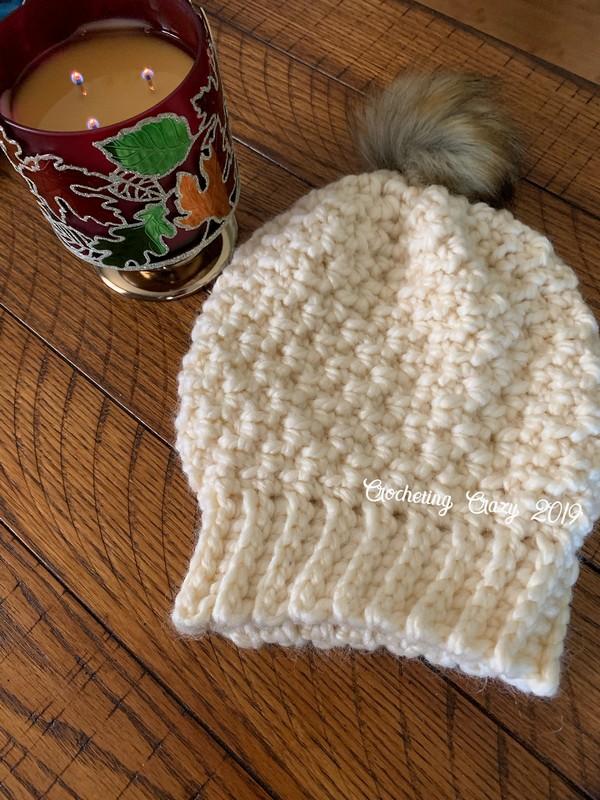 Free Crochet Seed Stitch Knit Look Hat Bulky Version Pattern
