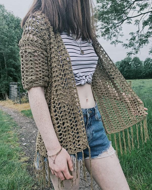 Free Crochet Shell Boho Cardigan Pattern