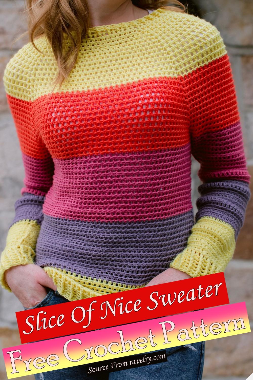 Free Crochet Slice Of Nice Sweater Pattern