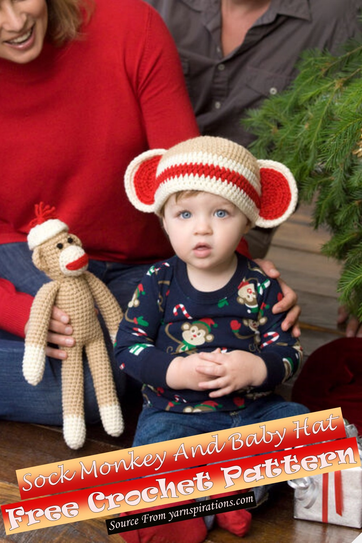 Free Crochet Sock Monkey And Baby Hat Pattern