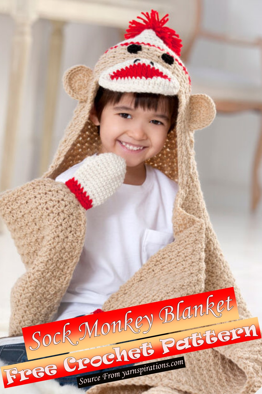 Free Crochet Sock Monkey Blanket Pattern