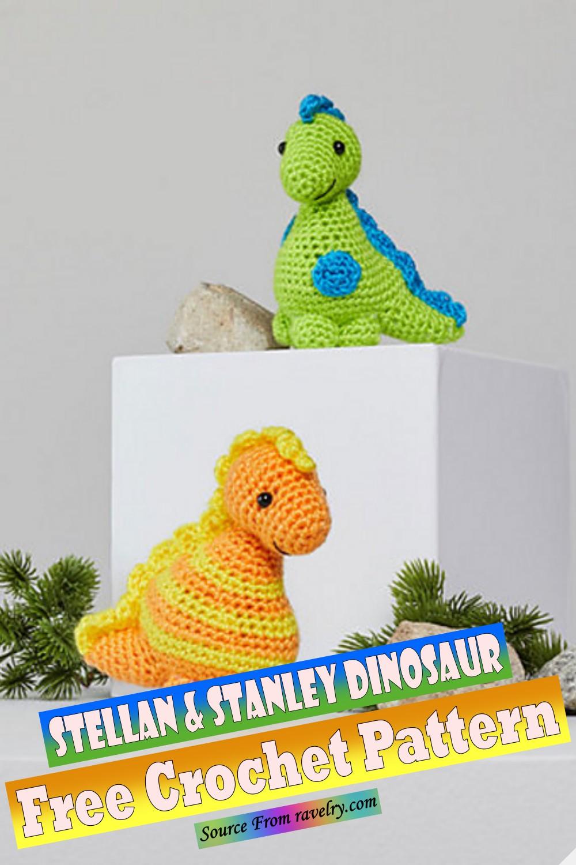 Free Crochet Stellan & Stanley Dinosaur Pattern