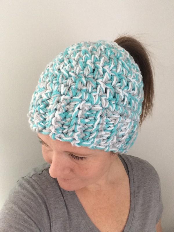 Free Crochet Super Bulky Messy Bun Hat Pattern
