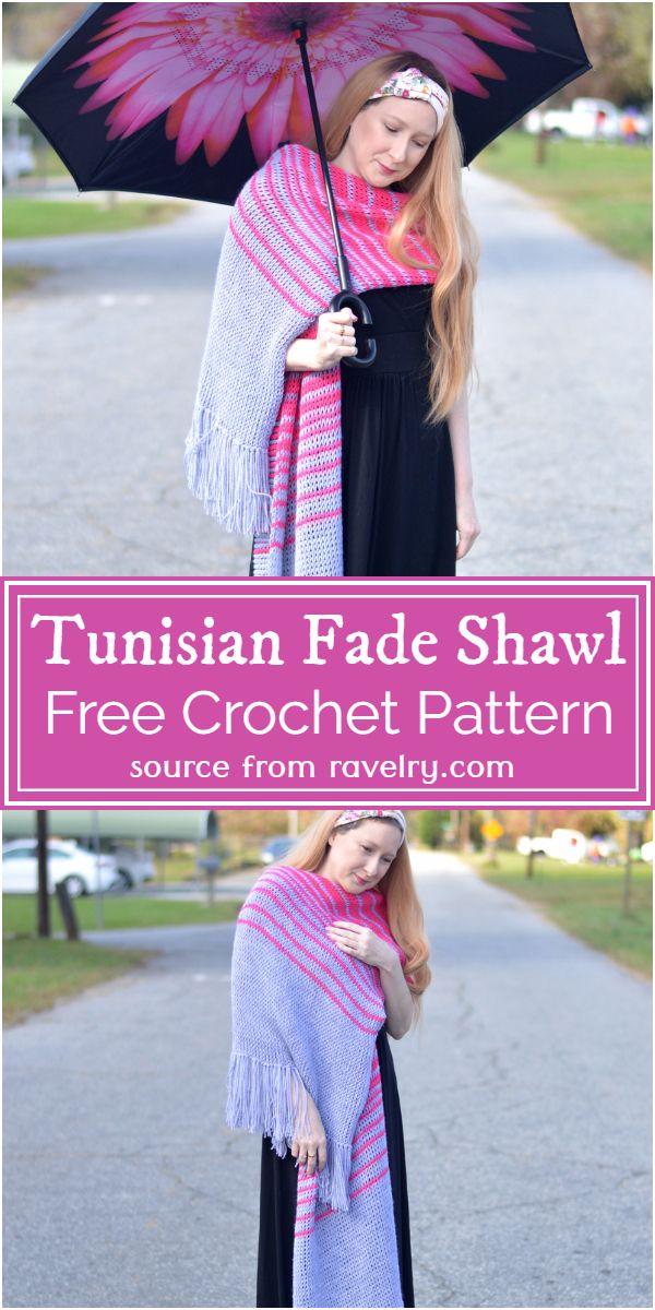 Free Crochet Tunisian Fade Shawl Pattern