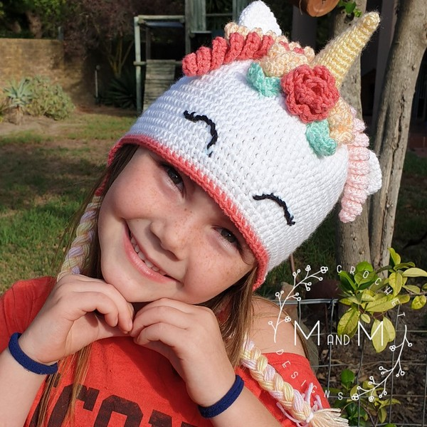 Free Crochet Unicorn Beanie Pattern