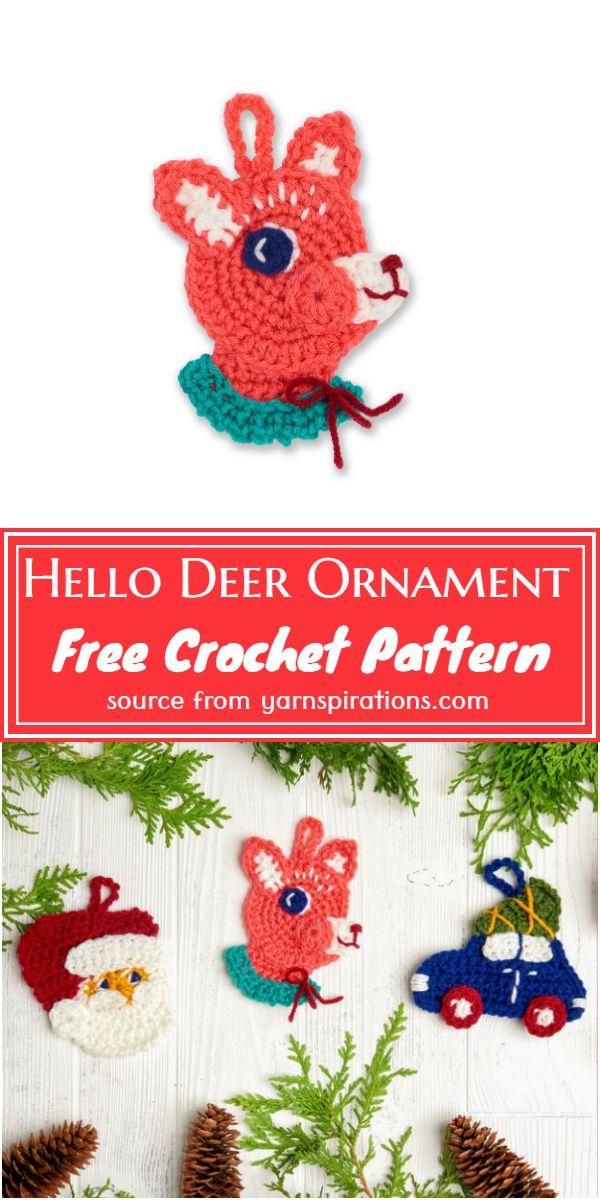 Hello Crochet Deer Ornament Pattern