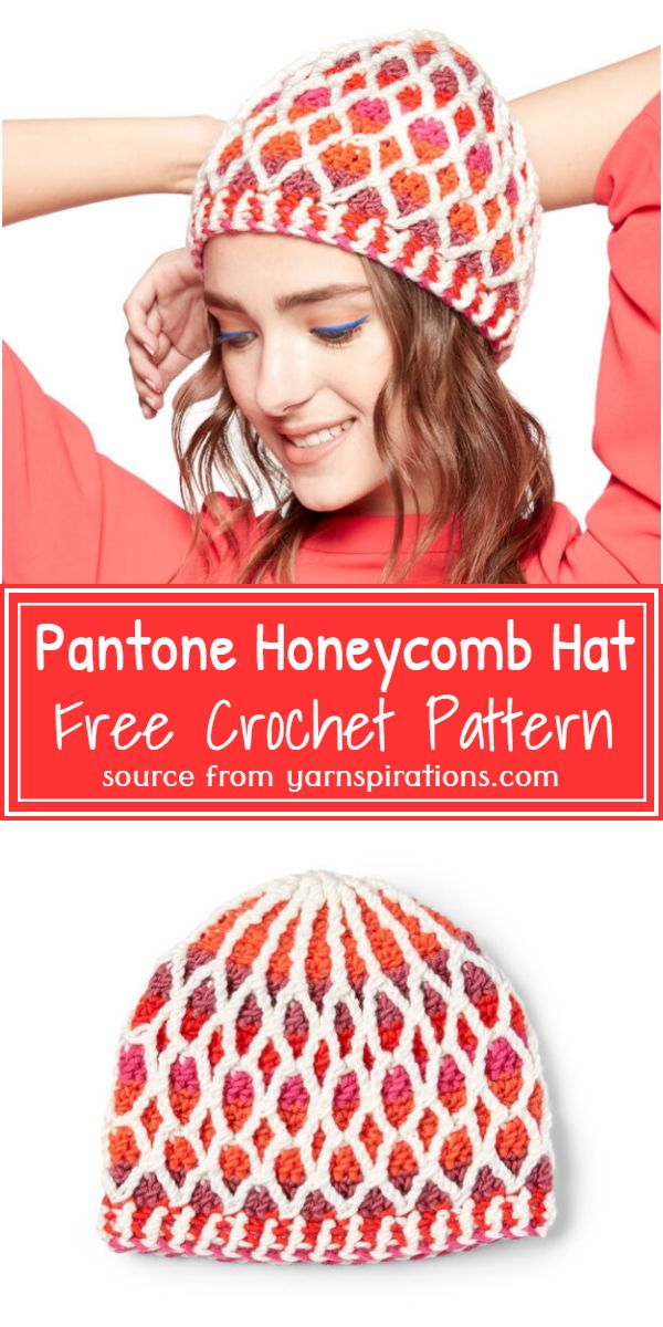 Pantone Crochet Honeycomb Hat Pattern