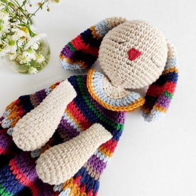 Striped Bunny Baby Crochet Lovey Pattern