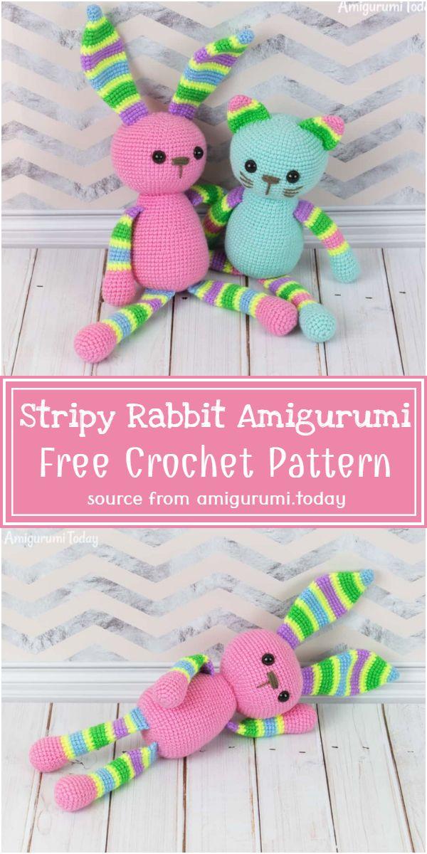 Stripy Crochet Rabbit Amigurumi Pattern