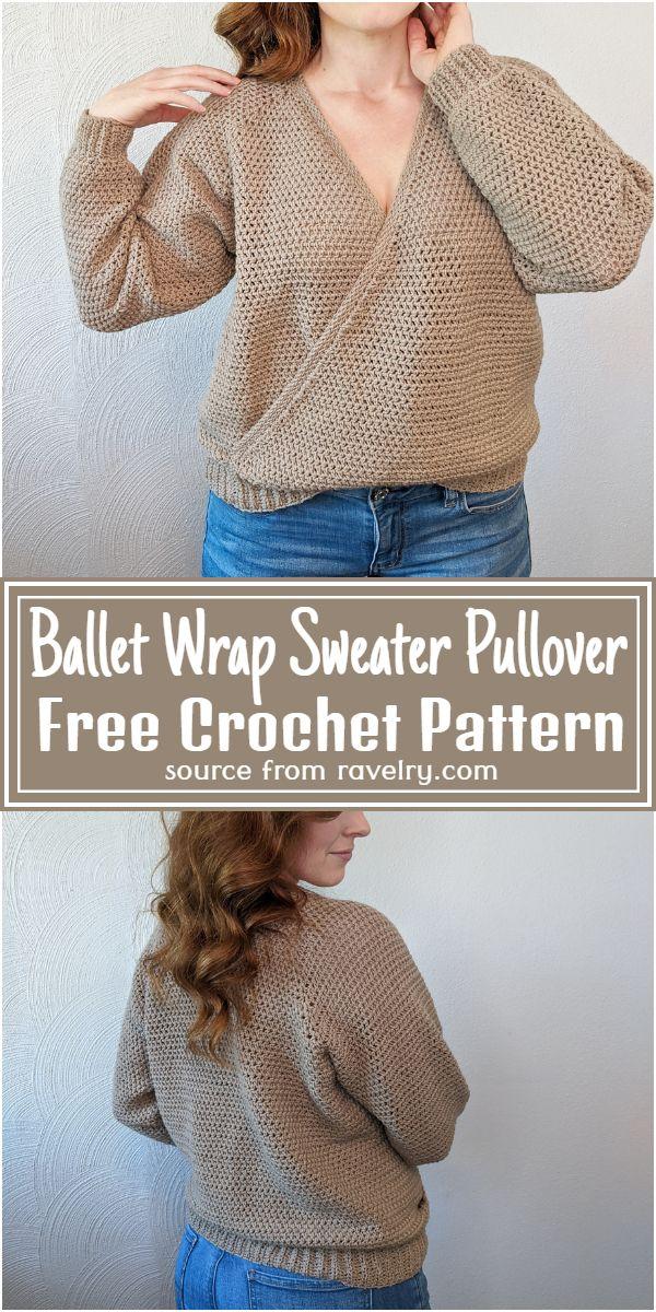 Ballet Wrap Sweater Crochet Pullover Pattern