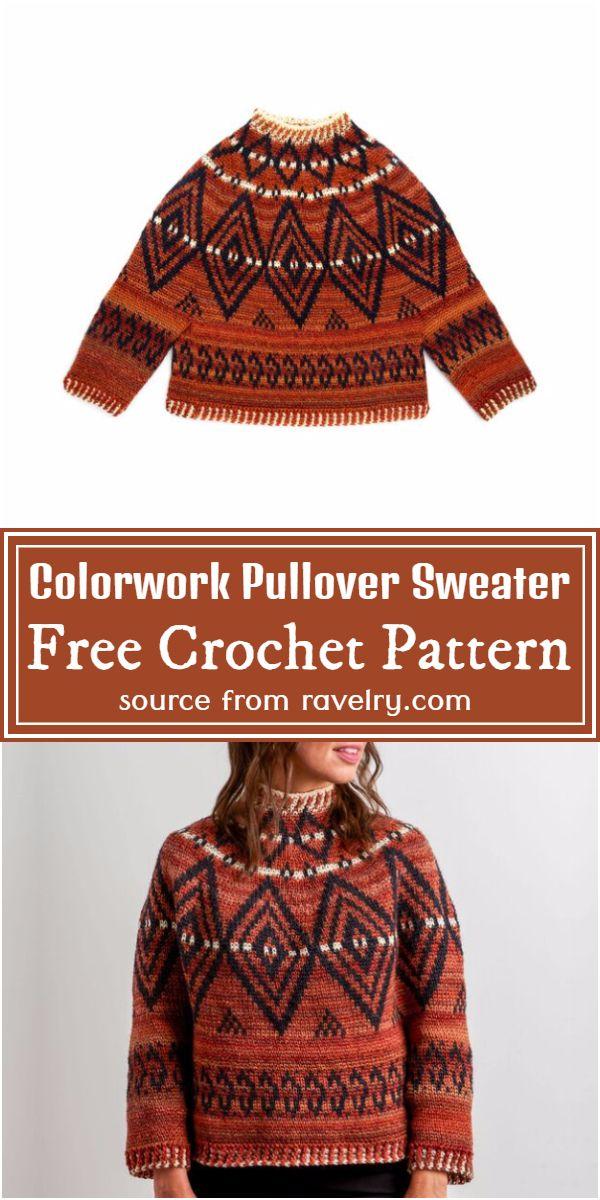 Colorwork Crochet Pullover Sweater Pattern