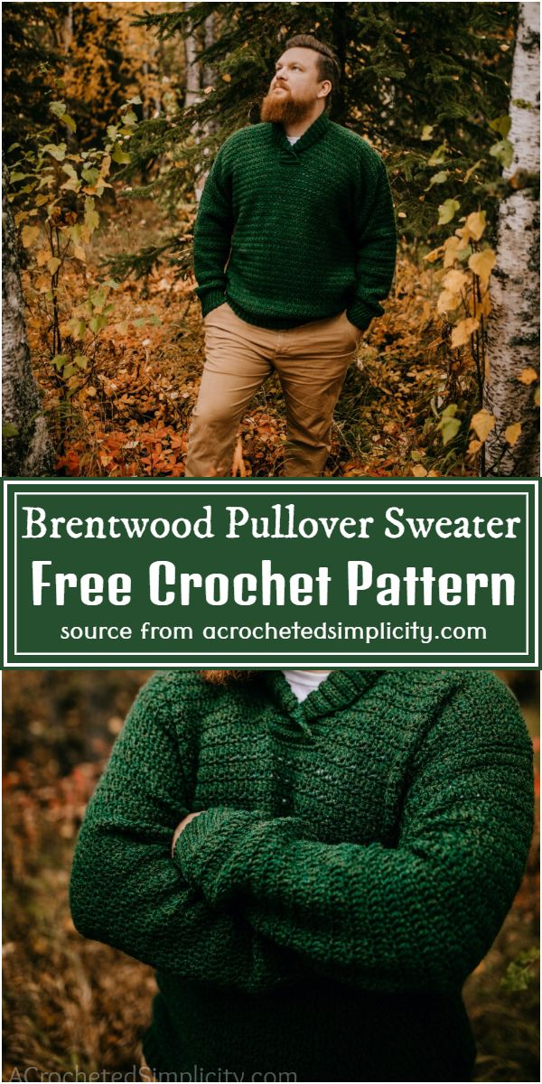 Crochet Brentwood Pullover Sweater Free Pattern For Men