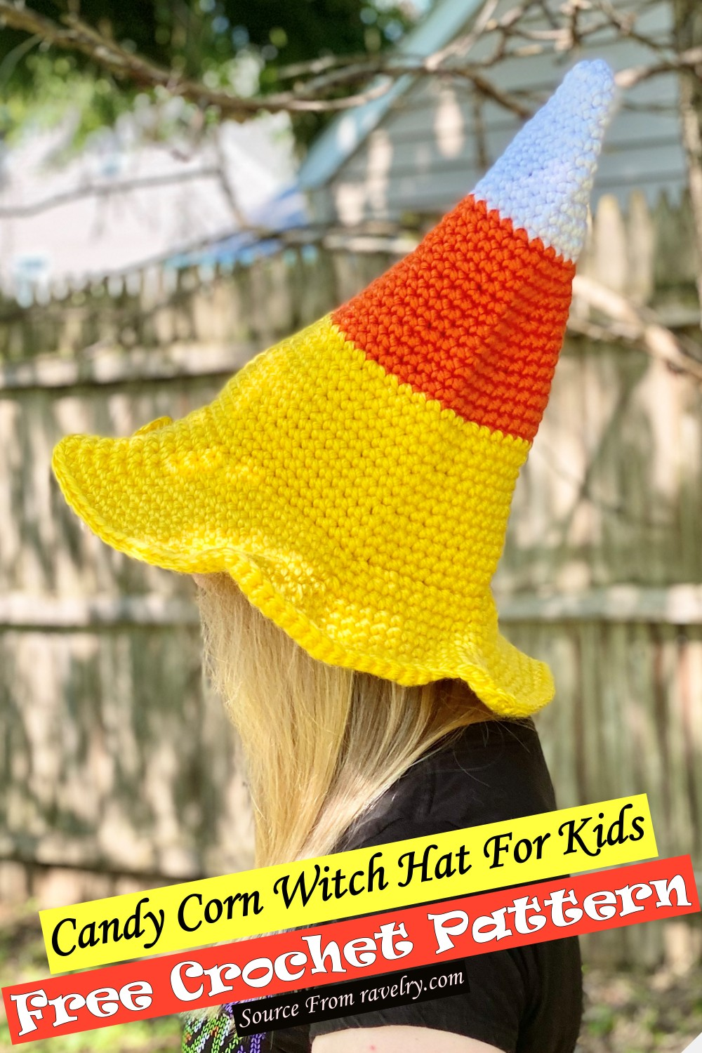 Crochet Candy Corn Witch Hat For Kids Pattern