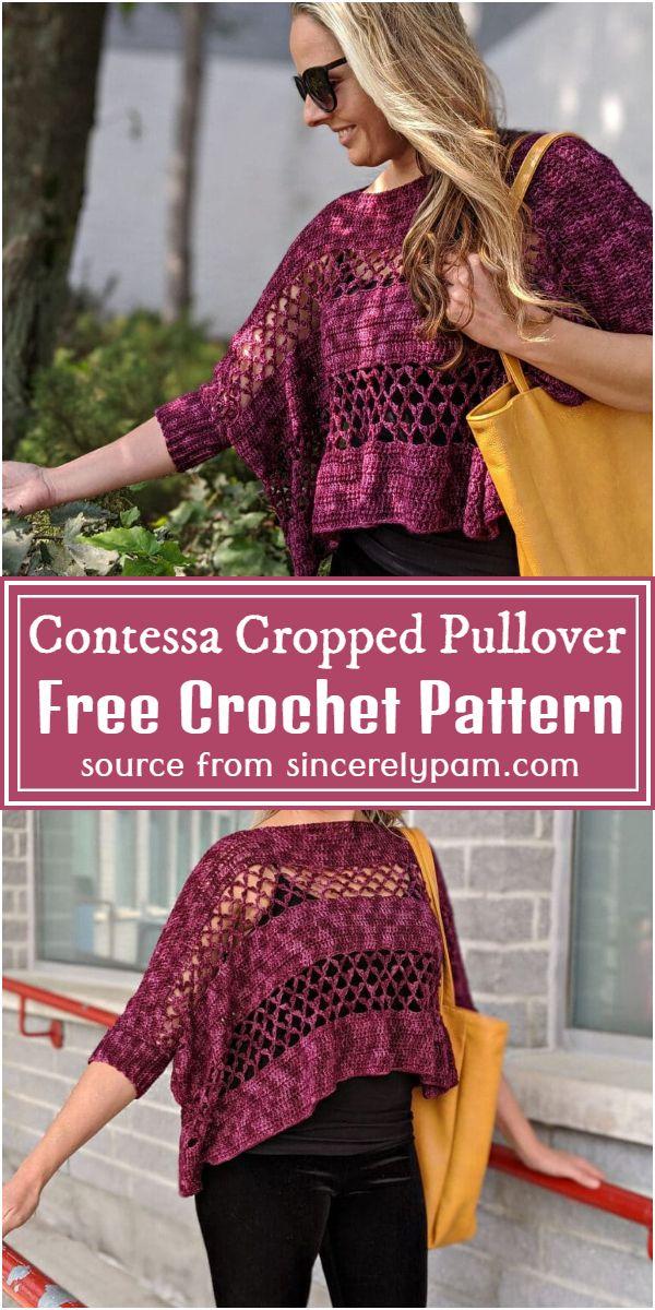 Crochet Contessa Cropped Pullover Free Pattern