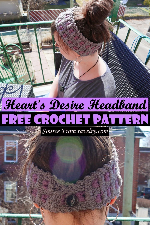 Crochet Heart's Desire Headband Pattern