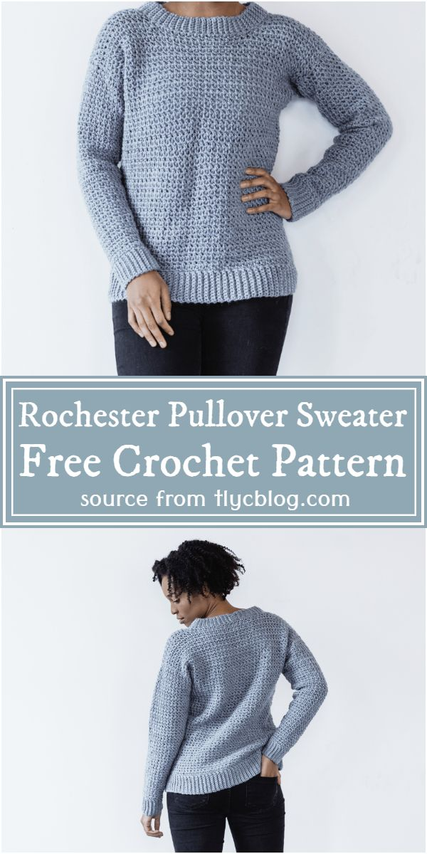 Crochet Rochester Pullover Sweater Free Pattern For Beginners