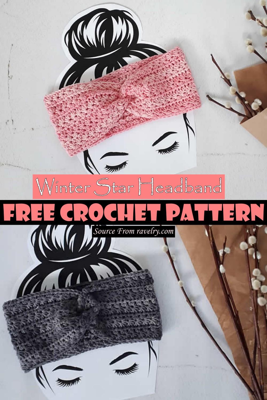 Crochet Winter Star Headband Patterna