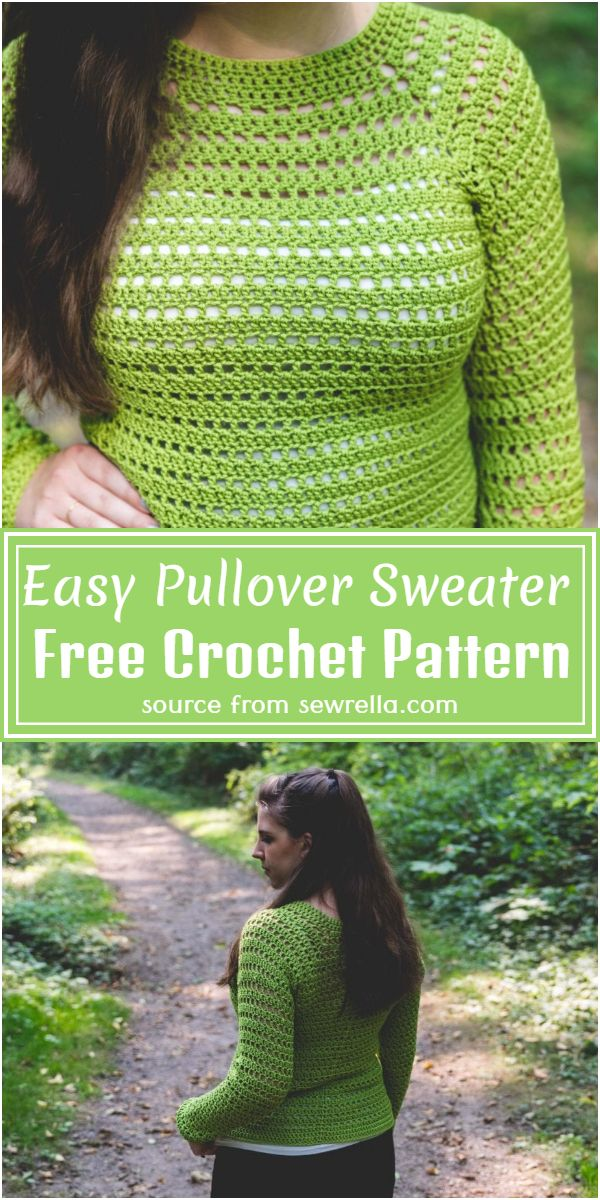 Easy Crochet Pullover Sweater Free Pattern