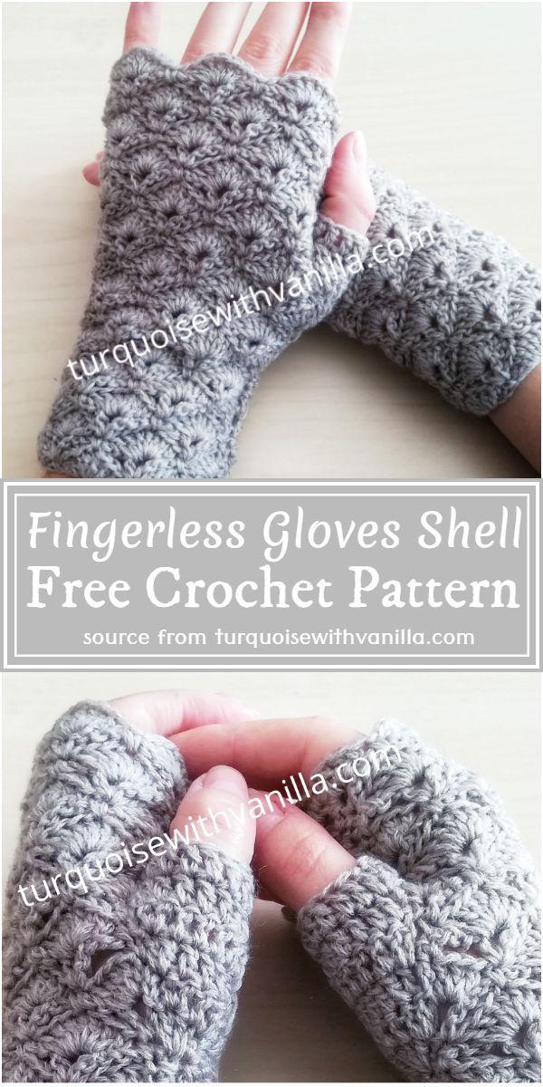 Free Crochet Fingerless Gloves Shell Pattern
