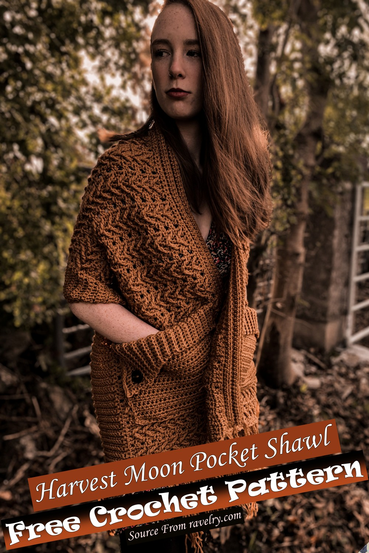 Free Crochet Harvest Moon Pocket Shawl Pattern