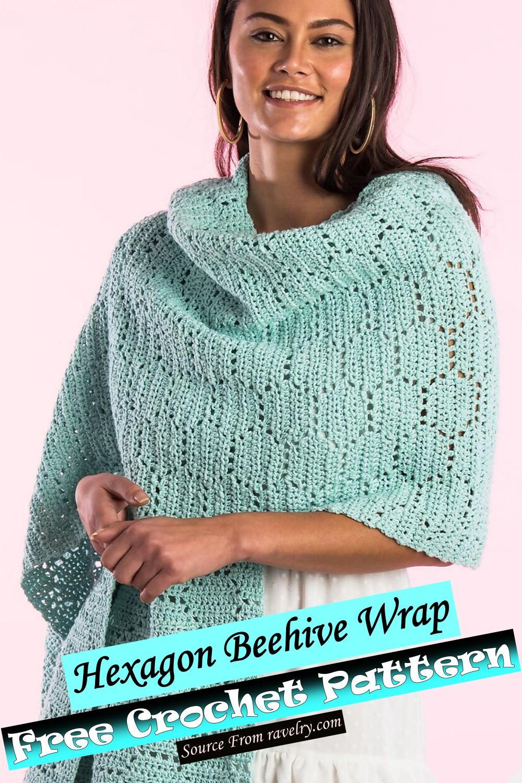 Free Crochet Hexagon Beehive Wrap Pattern