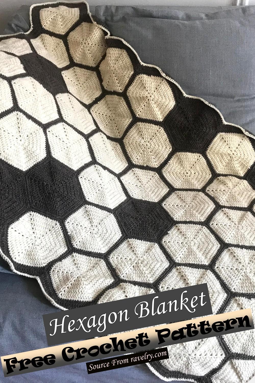 Free Crochet Hexagon Blanket Pattern