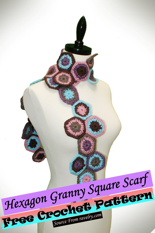 Free Crochet Hexagon Granny Square Scarf Pattern