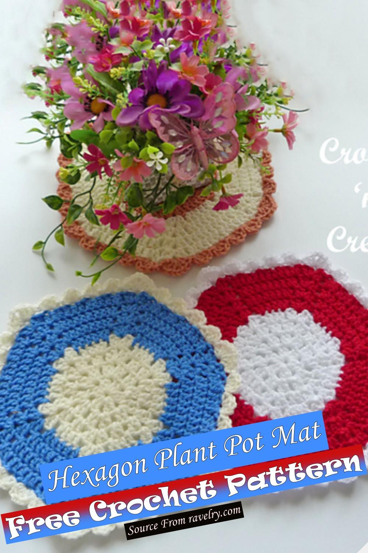 Free Crochet Hexagon Plant Pot Mat Pattern