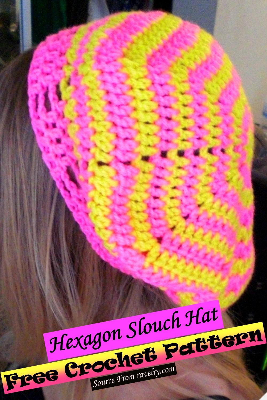 Free Crochet Hexagon Slouch Hat Pattern