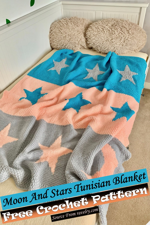 Free Crochet Moon And Stars Tunisian Blanket Pattern