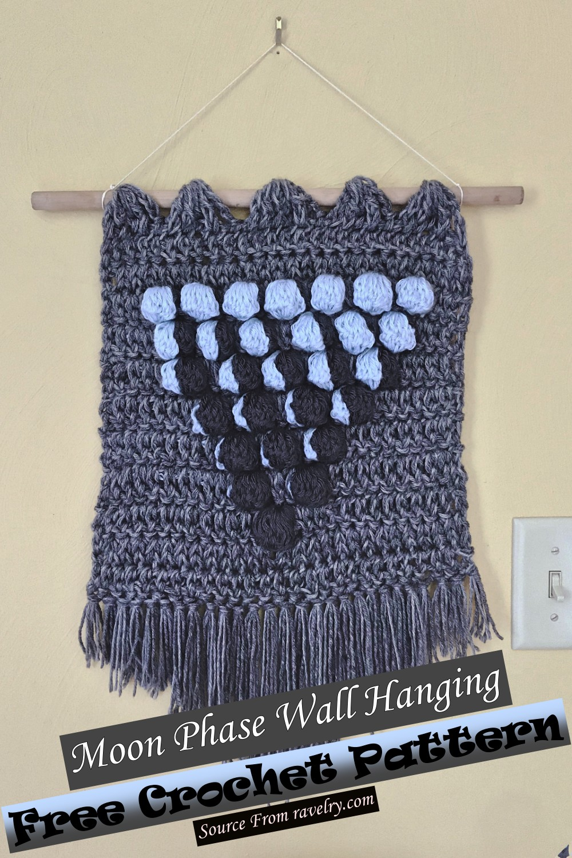 Free Crochet Moon Phase Wall Hanging Pattern