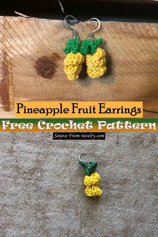 Free Crochet Pineapple Fruit Earrings Pattern