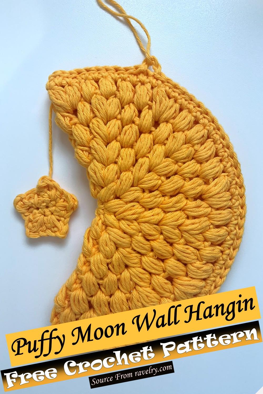 Free Crochet Puffy Moon Wall Hanging Pattern