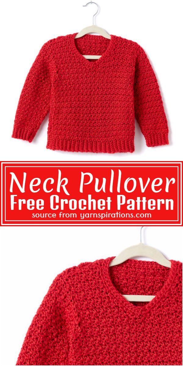 Neck Crochet Pullover Free Pattern