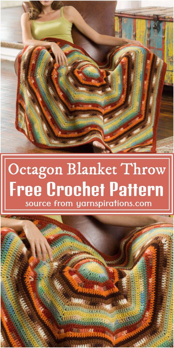Octagon Blanket Crochet Throw Free Pattern