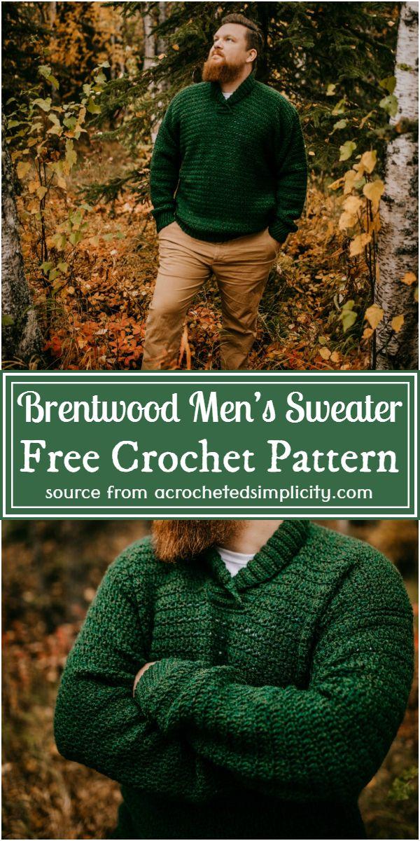 Crochet Brentwood Men's Sweater Free Pattern
