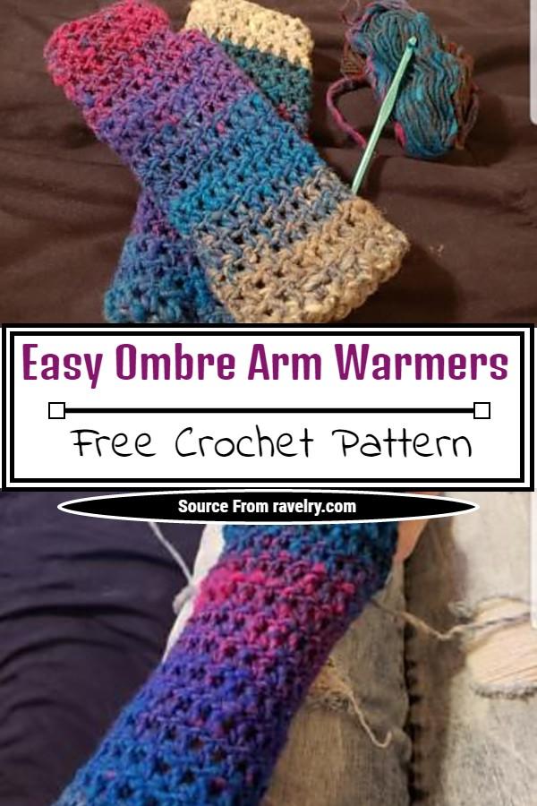 Crochet Easy Ombre Arm Warmers Pattern